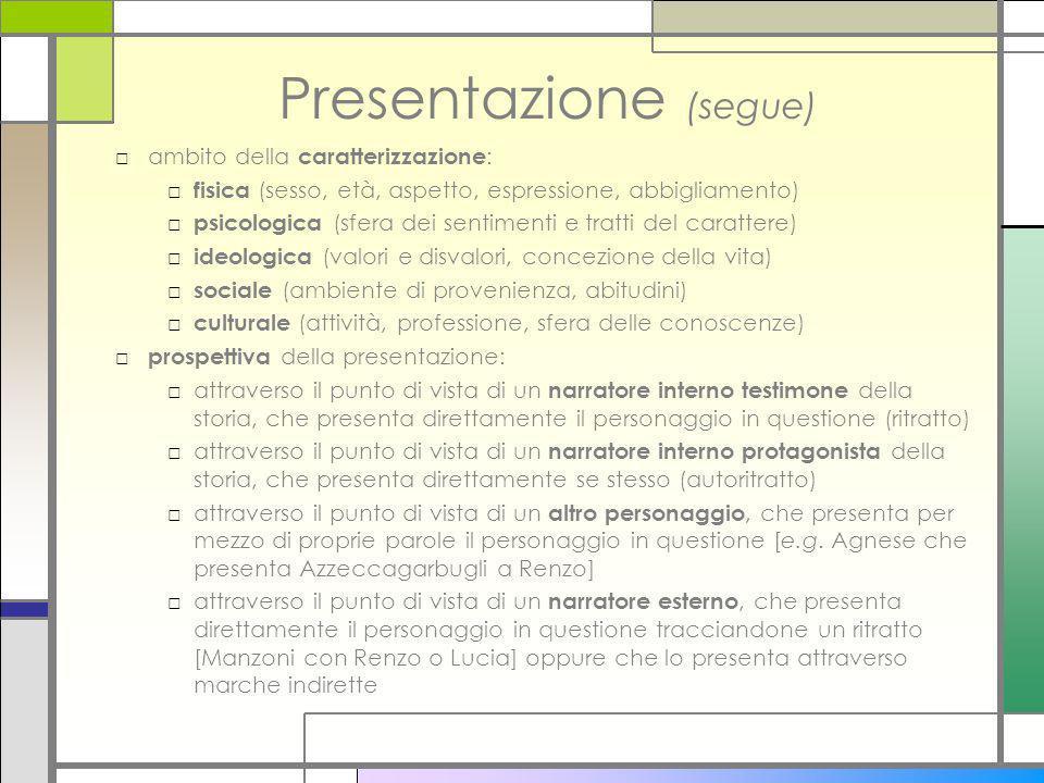 Presentazione (segue) ambito della caratterizzazione : fisica (sesso, età, aspetto, espressione, abbigliamento) psicologica (sfera dei sentimenti e tr