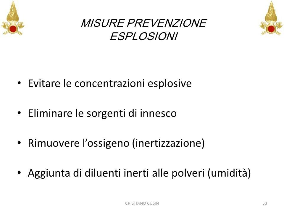 MISURE PREVENZIONE ESPLOSIONI Evitare le concentrazioni esplosive Eliminare le sorgenti di innesco Rimuovere lossigeno (inertizzazione) Aggiunta di di