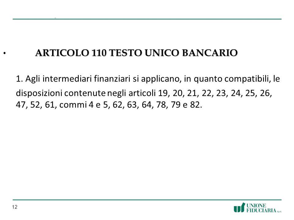 12 ARTICOLO 110 TESTO UNICO BANCARIO ARTICOLO 110 TESTO UNICO BANCARIO 1.