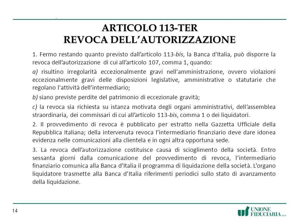 14 ARTICOLO 113-TER REVOCA DELLAUTORIZZAZIONE 1.