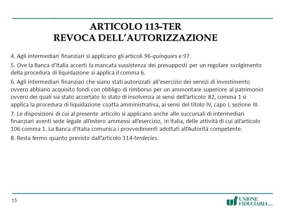 15 ARTICOLO 113-TER REVOCA DELLAUTORIZZAZIONE 4.