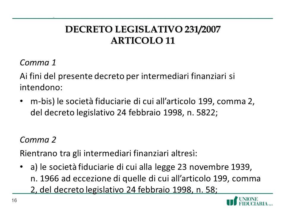 16 DECRETO LEGISLATIVO 231/2007 ARTICOLO 11 Comma 1 Ai fini del presente decreto per intermediari finanziari si intendono: m-bis) le società fiduciarie di cui allarticolo 199, comma 2, del decreto legislativo 24 febbraio 1998, n.