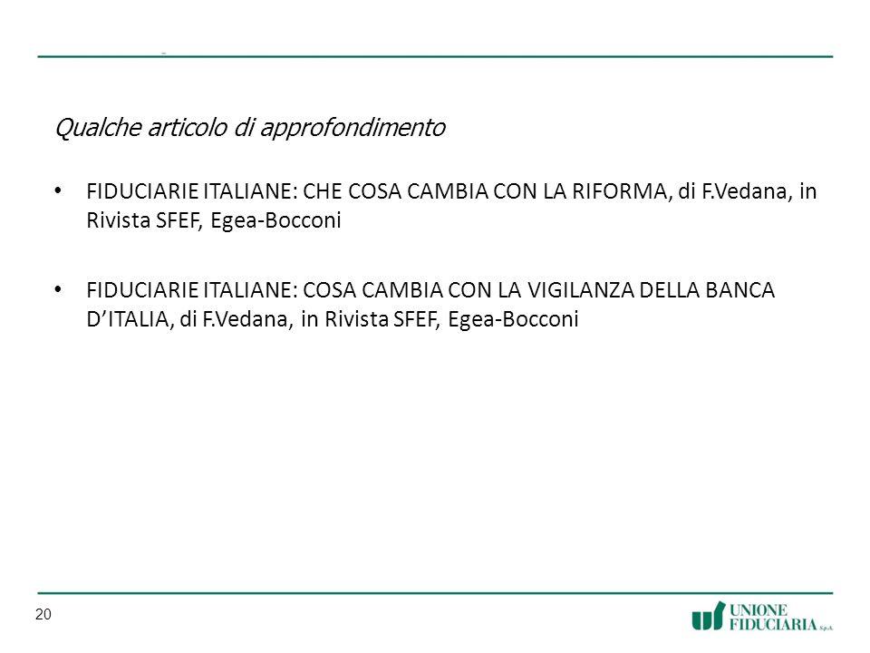 20 Qualche articolo di approfondimento FIDUCIARIE ITALIANE: CHE COSA CAMBIA CON LA RIFORMA, di F.Vedana, in Rivista SFEF, Egea-Bocconi FIDUCIARIE ITALIANE: COSA CAMBIA CON LA VIGILANZA DELLA BANCA DITALIA, di F.Vedana, in Rivista SFEF, Egea-Bocconi