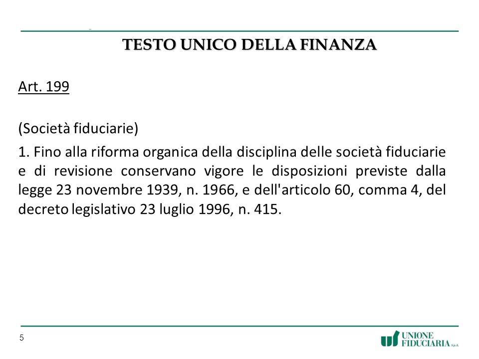 5 TESTO UNICO DELLA FINANZA Art.199 (Società fiduciarie) 1.
