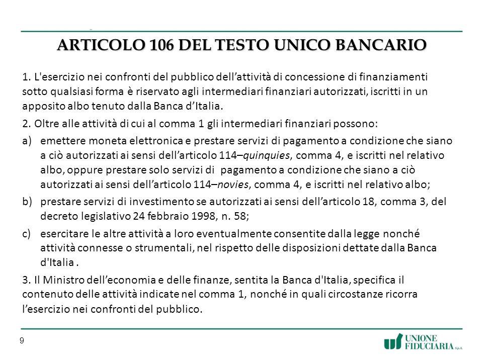 9 ARTICOLO 106 DEL TESTO UNICO BANCARIO 1.