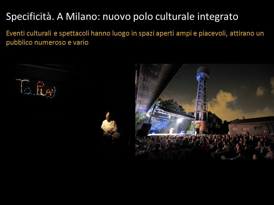 Specificità. A Milano: nuovo polo culturale integrato Eventi culturali e spettacoli hanno luogo in spazi aperti ampi e piacevoli, attirano un pubblico