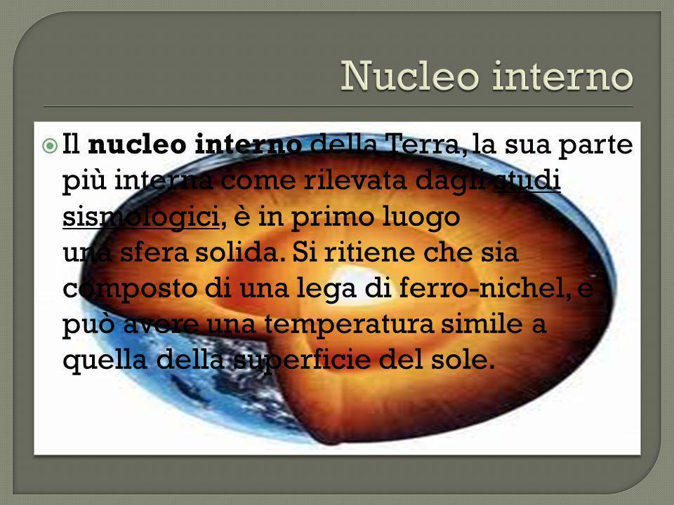 Il nucleo interno della Terra, la sua parte più interna come rilevata dagli studi sismologici, è in primo luogo una sfera solida.