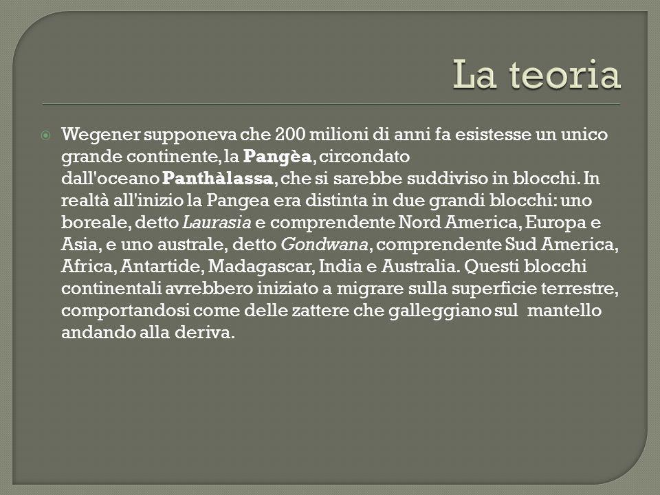 Wegener supponeva che 200 milioni di anni fa esistesse un unico grande continente, la Pangèa, circondato dall oceano Panthàlassa, che si sarebbe suddiviso in blocchi.