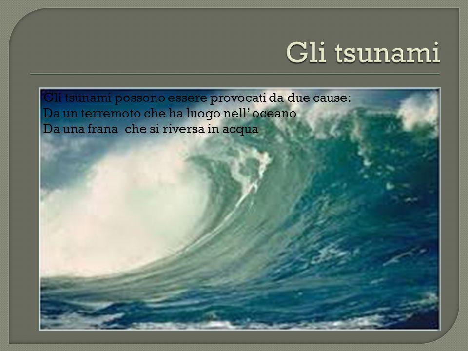 Gli tsunami possono essere provocati da due cause: Da un terremoto che ha luogo nell oceano Da una frana che si riversa in acqua