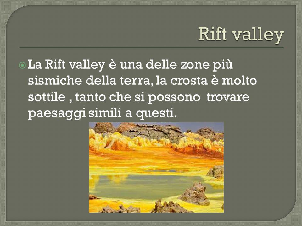 La Rift valley è una delle zone più sismiche della terra, la crosta è molto sottile, tanto che si possono trovare paesaggi simili a questi.