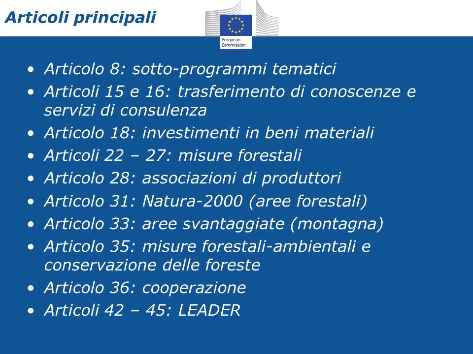 Articoli principali Articolo 8: sotto-programmi tematici Articoli 15 e 16: trasferimento di conoscenze e servizi di consulenza Articolo 18: investimenti in beni materiali Articoli 22 – 27: misure forestali Articolo 28: associazioni di produttori Articolo 31: Natura-2000 (aree forestali) Articolo 33: aree svantaggiate (montagna) Articolo 35: misure forestali-ambientali e conservazione delle foreste Articolo 36: cooperazione Articoli 42 – 45: LEADER