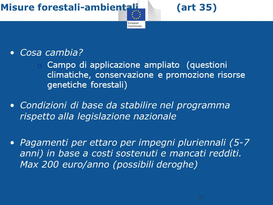23 Misure forestali-ambientali (art 35) Cosa cambia.