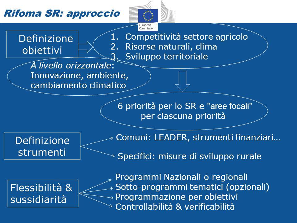 Rifoma SR: approccio Definizione obiettivi Definizione strumenti Flessibilità & sussidiarità 1.Competitività settore agricolo 2.Risorse naturali, clima 3.Sviluppo territoriale Comuni: LEADER, strumenti finanziari… Specifici: misure di sviluppo rurale Programmi Nazionali o regionali Sotto-programmi tematici (opzionali) Programmazione per obiettivi Controllabilità & verificabilità 6 priorità per lo SR e ʺ aree focali ʺ per ciascuna priorità A livello orizzontale: Innovazione, ambiente, cambiamento climatico