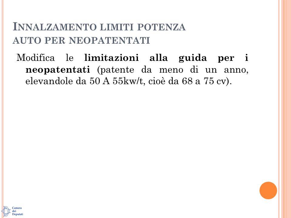 I NNALZAMENTO LIMITI POTENZA AUTO PER NEOPATENTATI Modifica le limitazioni alla guida per i neopatentati (patente da meno di un anno, elevandole da 50 A 55kw/t, cioè da 68 a 75 cv).