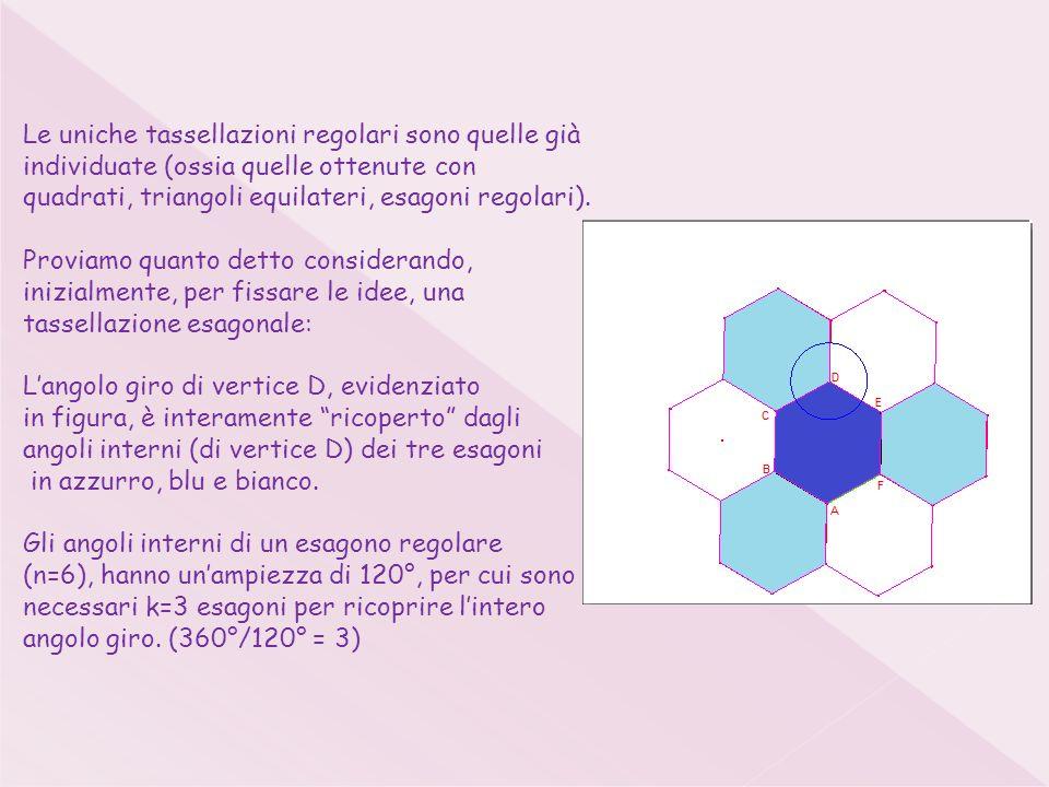 Le uniche tassellazioni regolari sono quelle già individuate (ossia quelle ottenute con quadrati, triangoli equilateri, esagoni regolari).