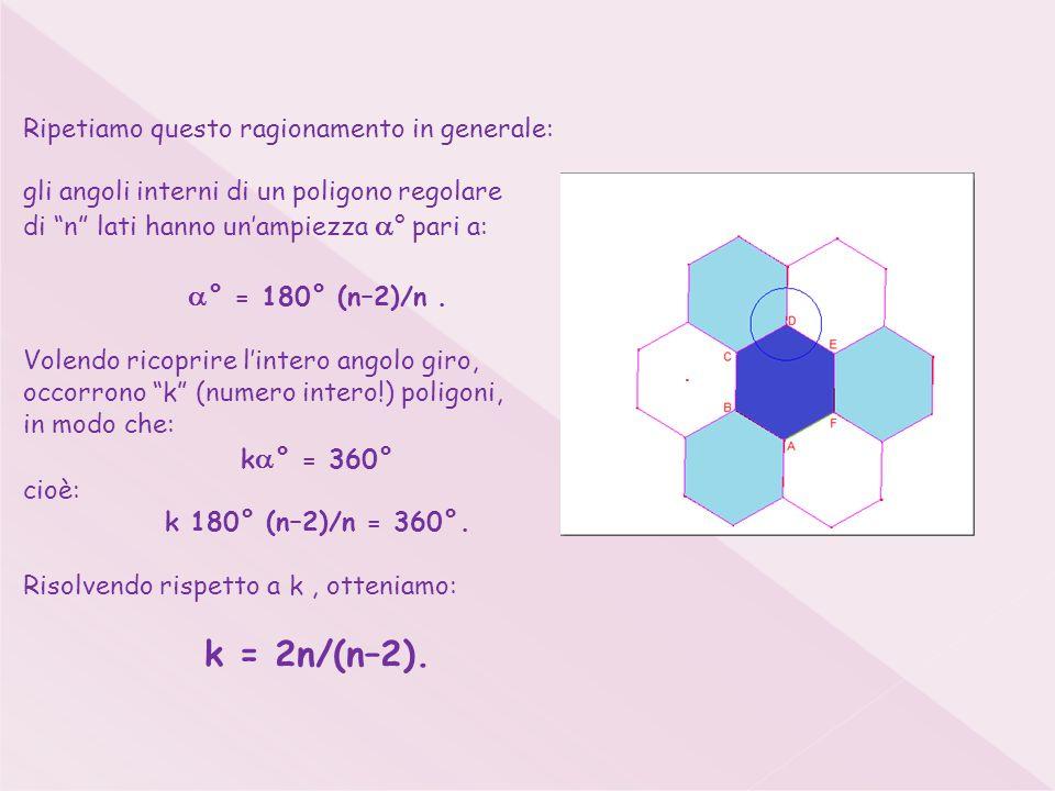 Ripetiamo questo ragionamento in generale: gli angoli interni di un poligono regolare di n lati hanno unampiezza ° pari a: ° = 180° (n–2)/n.