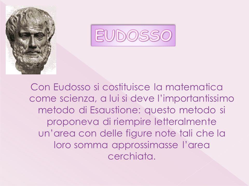 Con Eudosso si costituisce la matematica come scienza, a lui si deve limportantissimo metodo di Esaustione: questo metodo si proponeva di riempire letteralmente unarea con delle figure note tali che la loro somma approssimasse larea cerchiata.