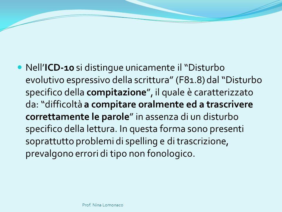 NellICD-10 si distingue unicamente il Disturbo evolutivo espressivo della scrittura (F81.8) dal Disturbo specifico della compitazione, il quale è cara