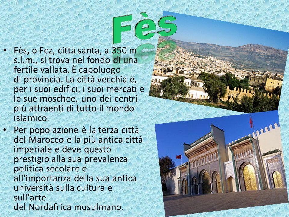 Fès, o Fez, città santa, a 350 m s.l.m., si trova nel fondo di una fertile vallata. È capoluogo di provincia. La città vecchia è, per i suoi edifici,