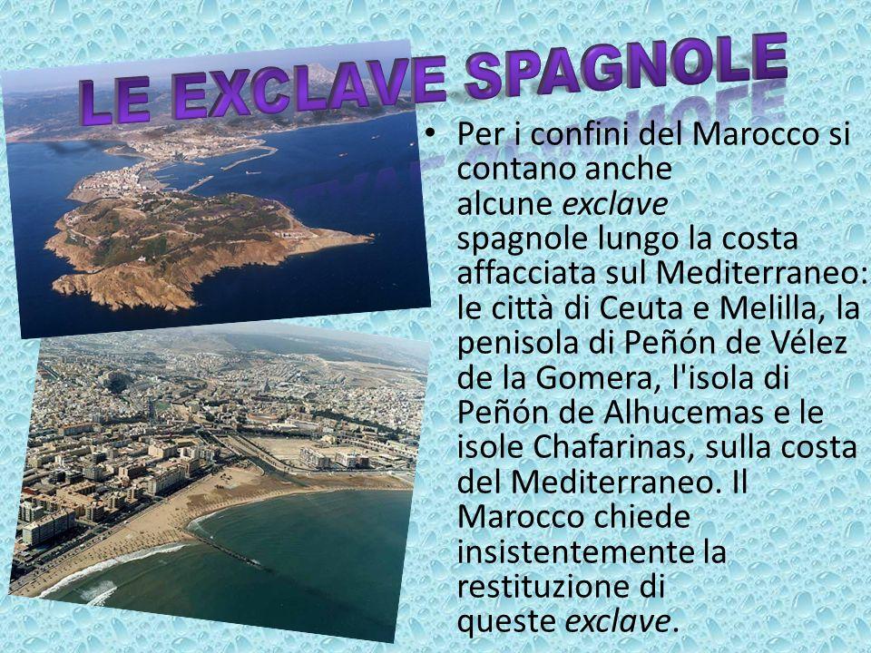 Per i confini del Marocco si contano anche alcune exclave spagnole lungo la costa affacciata sul Mediterraneo: le città di Ceuta e Melilla, la penisol