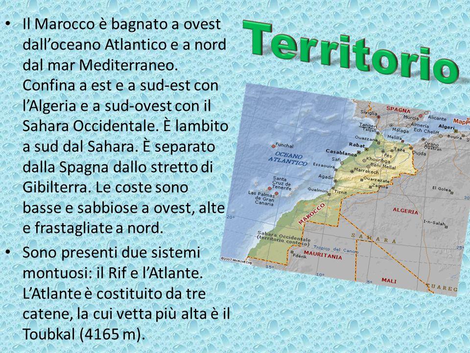 Il Marocco è bagnato a ovest dalloceano Atlantico e a nord dal mar Mediterraneo. Confina a est e a sud-est con lAlgeria e a sud-ovest con il Sahara Oc