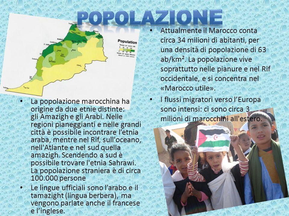Attualmente il Marocco conta circa 34 milioni di abitanti, per una densità di popolazione di 63 ab/km². La popolazione vive soprattutto nelle pianure