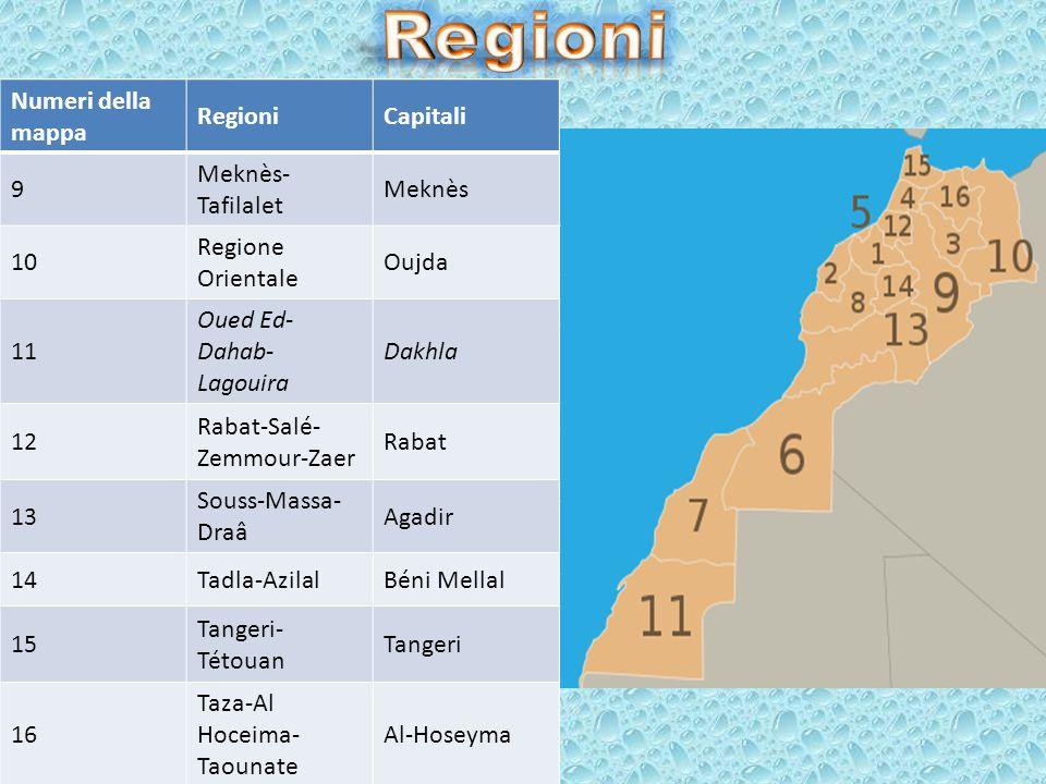 Numeri della mappa RegioniCapitali 1 Chaouia- Ouardigha Settat 2Doukkala-AbdaSafi 3Fes-BoulemaneFès 4 Gharb- Chrarda-Béni Hssen Kenitra 5 Grande Casab