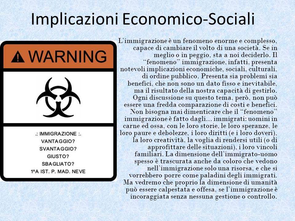 Implicazioni Economico-Sociali Limmigrazione è un fenomeno enorme e complesso, capace di cambiare il volto di una società. Se in meglio o in peggio, s