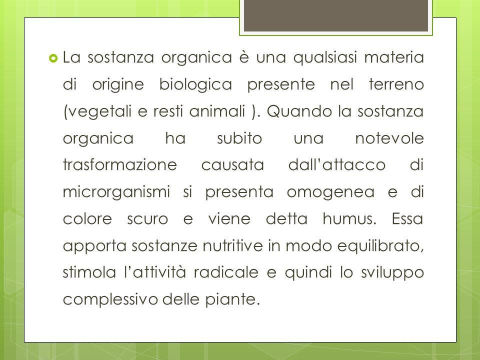 La sostanza organica è una qualsiasi materia di origine biologica presente nel terreno (vegetali e resti animali ). Quando la sostanza organica ha sub