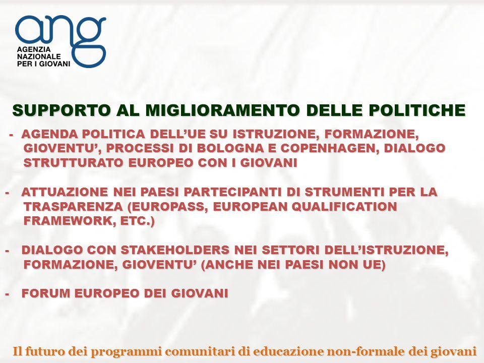 SUPPORTO AL MIGLIORAMENTO DELLE POLITICHE - AGENDA POLITICA DELLUE SU ISTRUZIONE, FORMAZIONE, GIOVENTU, PROCESSI DI BOLOGNA E COPENHAGEN, DIALOGO STRUTTURATO EUROPEO CON I GIOVANI - AGENDA POLITICA DELLUE SU ISTRUZIONE, FORMAZIONE, GIOVENTU, PROCESSI DI BOLOGNA E COPENHAGEN, DIALOGO STRUTTURATO EUROPEO CON I GIOVANI - ATTUAZIONE NEI PAESI PARTECIPANTI DI STRUMENTI PER LA TRASPARENZA (EUROPASS, EUROPEAN QUALIFICATION FRAMEWORK, ETC.) - DIALOGO CON STAKEHOLDERS NEI SETTORI DELLISTRUZIONE, FORMAZIONE, GIOVENTU (ANCHE NEI PAESI NON UE) - FORUM EUROPEO DEI GIOVANI Il futuro dei programmi comunitari di educazione non-formale dei giovani