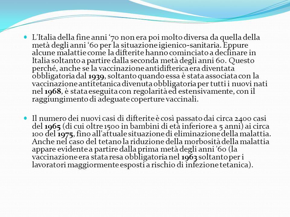 L Italia della fine anni 70 non era poi molto diversa da quella della metà degli anni 60 per la situazione igienico-sanitaria.