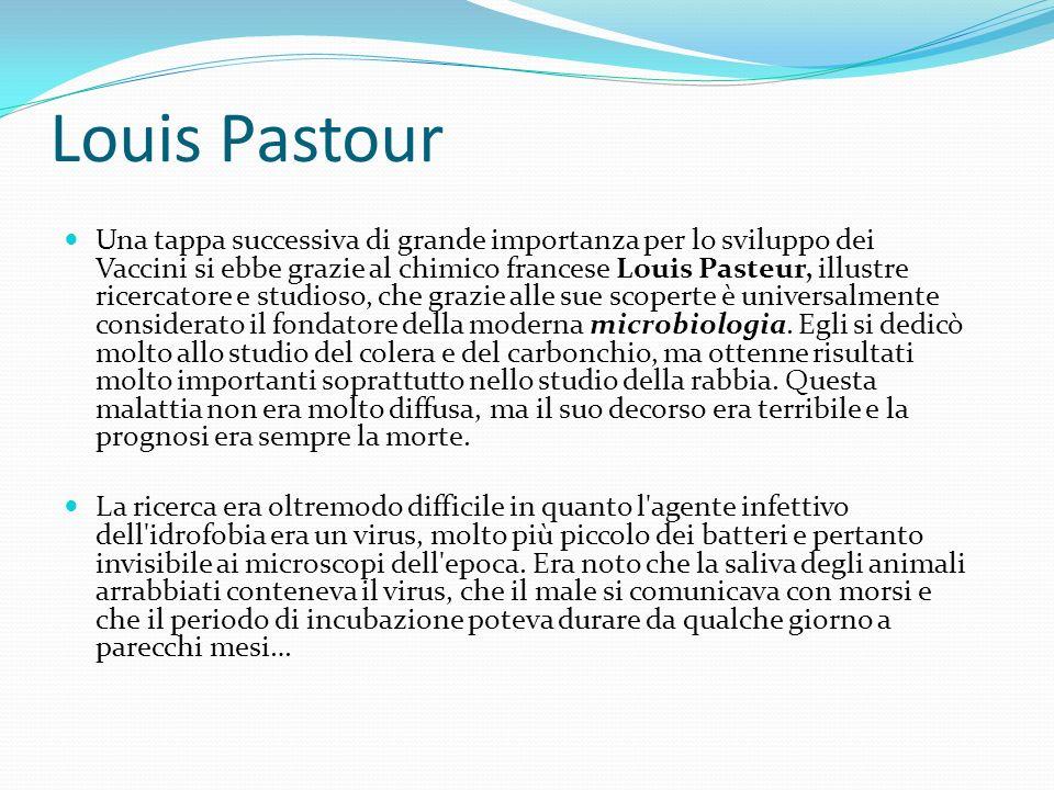 Louis Pastour (1822-1895)… …Pasteur però dopo alcune ricerche scoprì che la rabbia non risiedeva soltanto nella saliva.