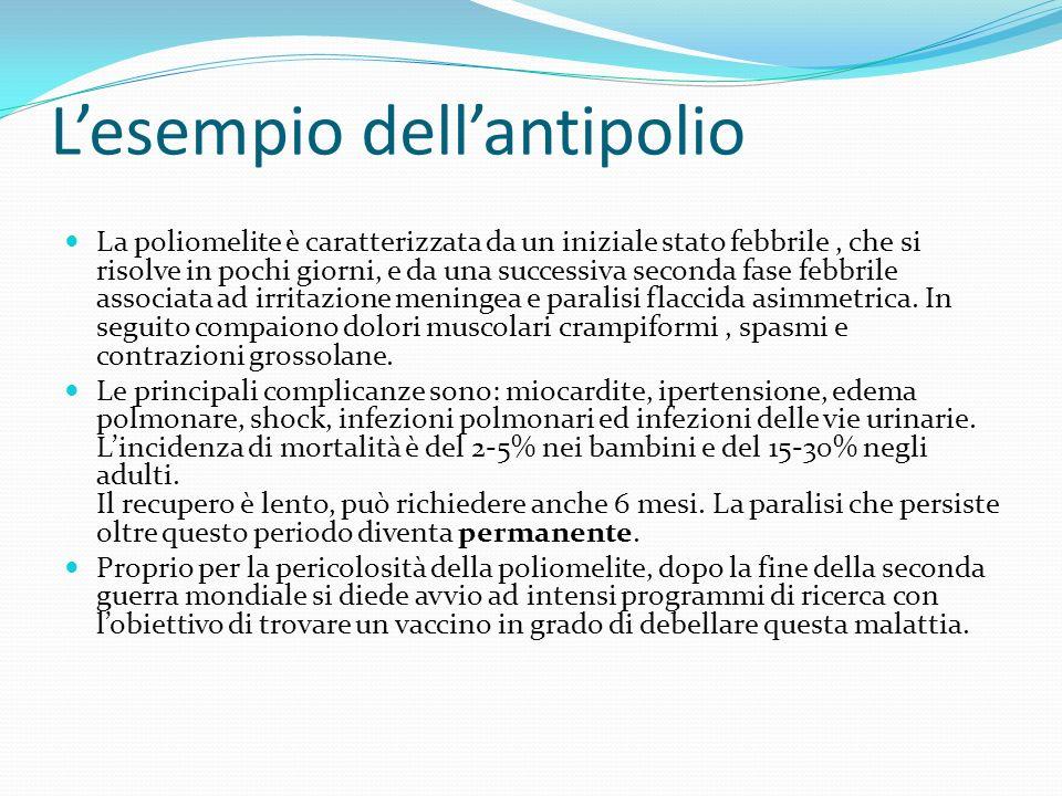 Lesempio dellantipolio La poliomelite è caratterizzata da un iniziale stato febbrile, che si risolve in pochi giorni, e da una successiva seconda fase febbrile associata ad irritazione meningea e paralisi flaccida asimmetrica.