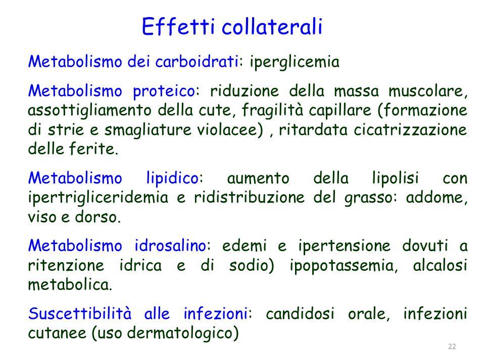 Effetti collaterali Metabolismo dei carboidrati: iperglicemia Metabolismo proteico: riduzione della massa muscolare, assottigliamento della cute, frag