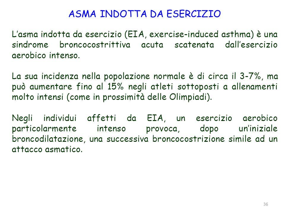 36 ASMA INDOTTA DA ESERCIZIO Lasma indotta da esercizio (EIA, exercise-induced asthma) è una sindrome broncocostrittiva acuta scatenata dallesercizio