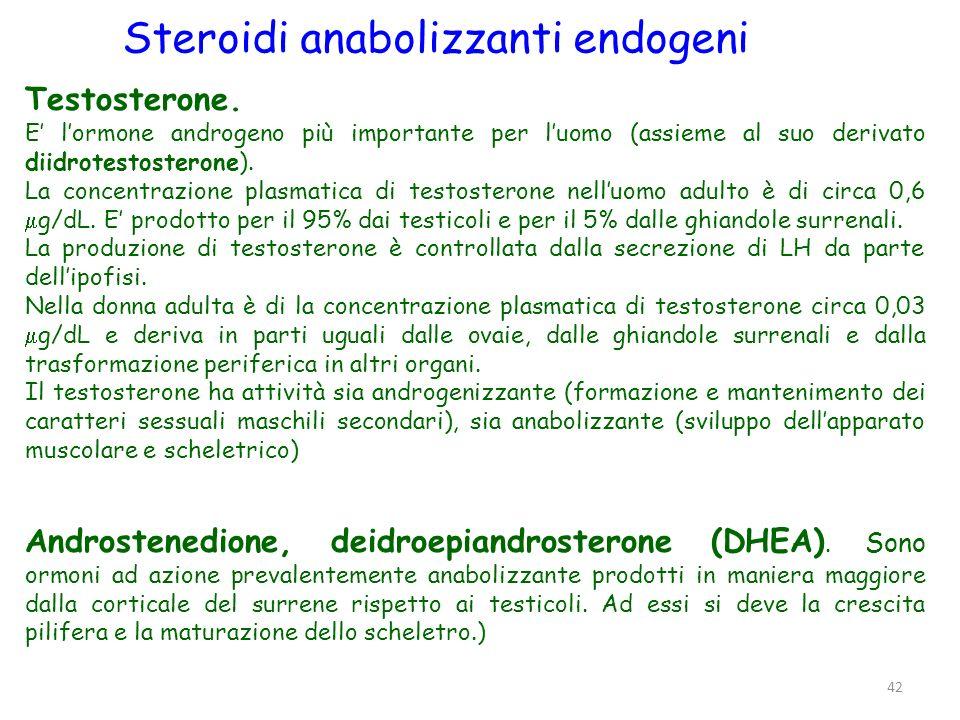 42 Testosterone. E lormone androgeno più importante per luomo (assieme al suo derivato diidrotestosterone). La concentrazione plasmatica di testostero