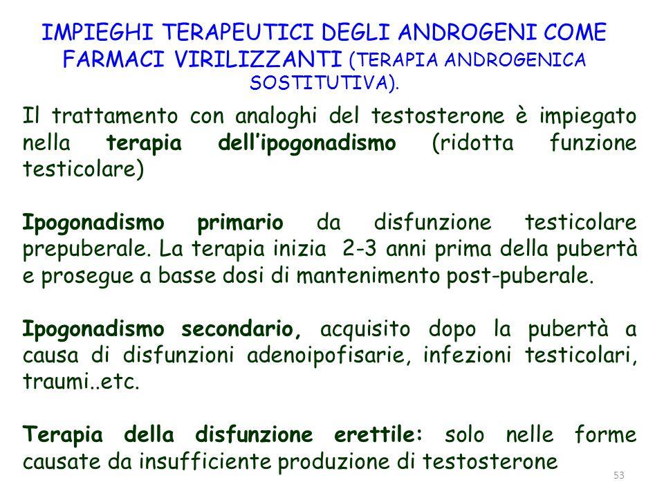 53 IMPIEGHI TERAPEUTICI DEGLI ANDROGENI COME FARMACI VIRILIZZANTI (TERAPIA ANDROGENICA SOSTITUTIVA). Il trattamento con analoghi del testosterone è im