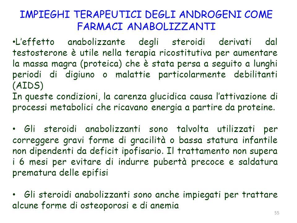 55 Leffetto anabolizzante degli steroidi derivati dal testosterone è utile nella terapia ricostitutiva per aumentare la massa magra (proteica) che è s
