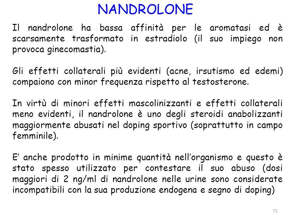 71 NANDROLONE Il nandrolone ha bassa affinità per le aromatasi ed è scarsamente trasformato in estradiolo (il suo impiego non provoca ginecomastia). G