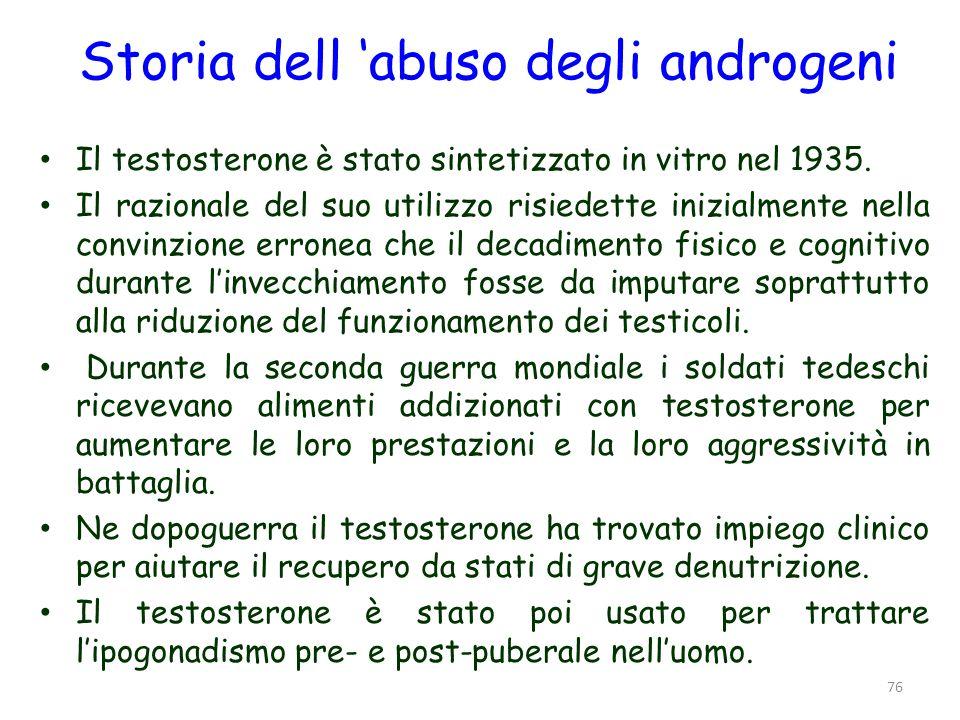 Storia dell abuso degli androgeni Il testosterone è stato sintetizzato in vitro nel 1935. Il razionale del suo utilizzo risiedette inizialmente nella