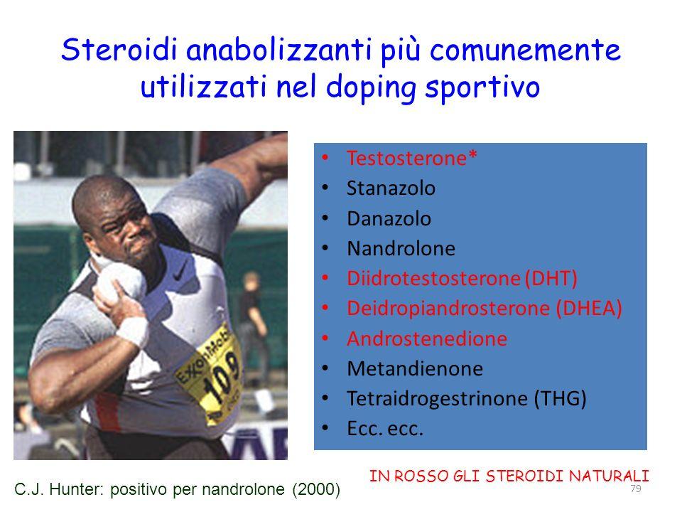 Steroidi anabolizzanti più comunemente utilizzati nel doping sportivo Testosterone* Stanazolo Danazolo Nandrolone Diidrotestosterone (DHT) Deidropiand