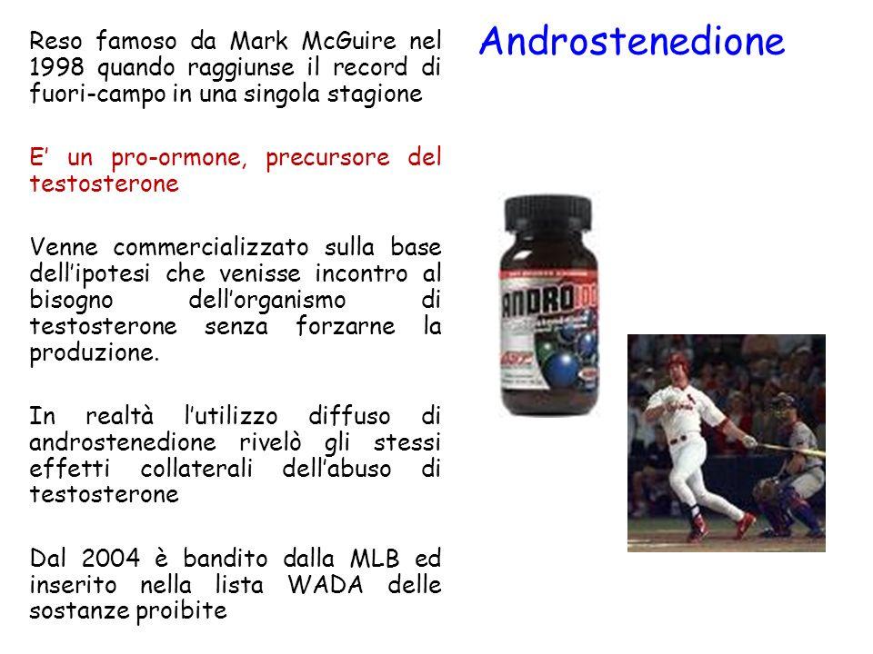 Androstenedione Reso famoso da Mark McGuire nel 1998 quando raggiunse il record di fuori-campo in una singola stagione E un pro-ormone, precursore del
