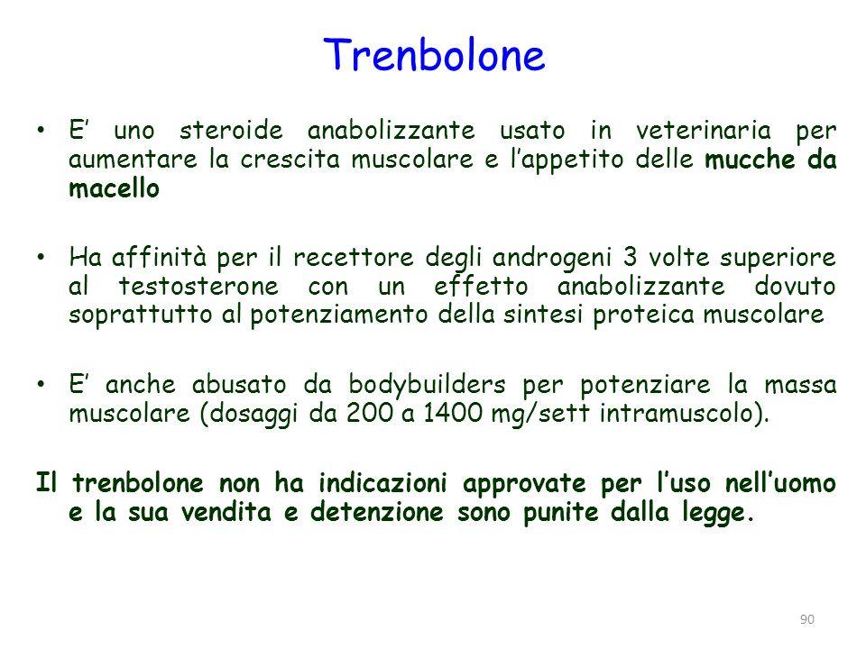 Trenbolone E uno steroide anabolizzante usato in veterinaria per aumentare la crescita muscolare e lappetito delle mucche da macello Ha affinità per i