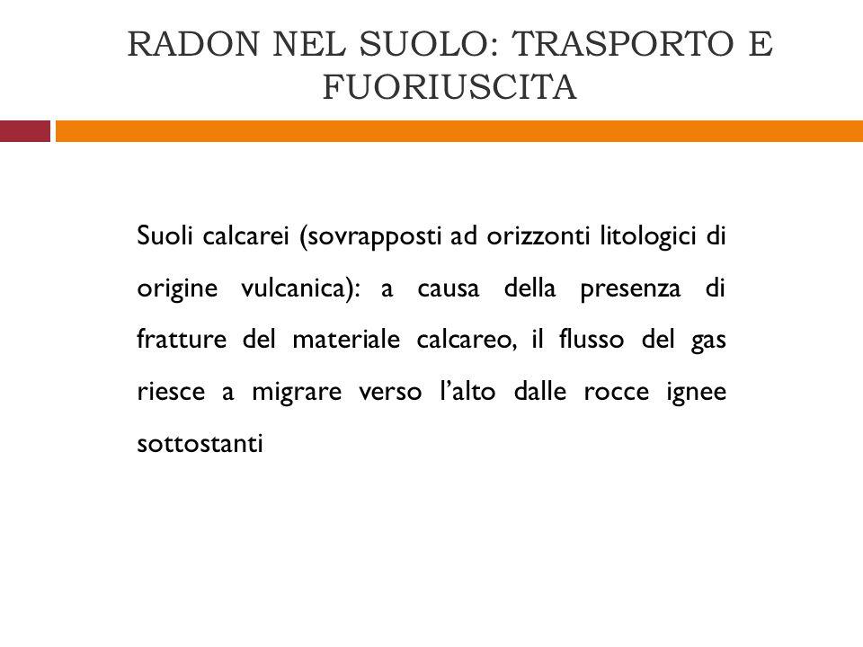 Suoli calcarei (sovrapposti ad orizzonti litologici di origine vulcanica): a causa della presenza di fratture del materiale calcareo, il flusso del ga