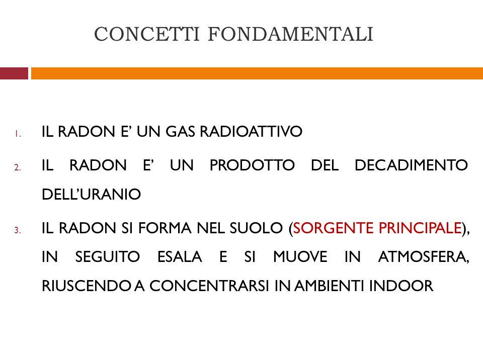 CONCETTI FONDAMENTALI 1. IL RADON E UN GAS RADIOATTIVO 2. IL RADON E UN PRODOTTO DEL DECADIMENTO DELLURANIO 3. IL RADON SI FORMA NEL SUOLO (SORGENTE P