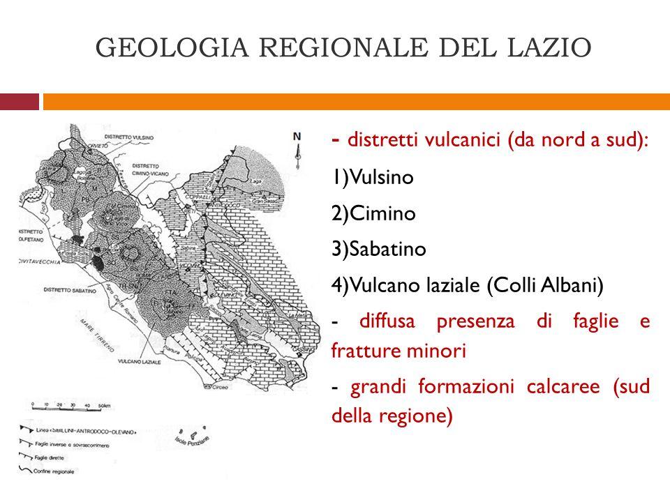 GEOLOGIA REGIONALE DEL LAZIO - distretti vulcanici (da nord a sud): 1)Vulsino 2)Cimino 3)Sabatino 4)Vulcano laziale (Colli Albani) - diffusa presenza