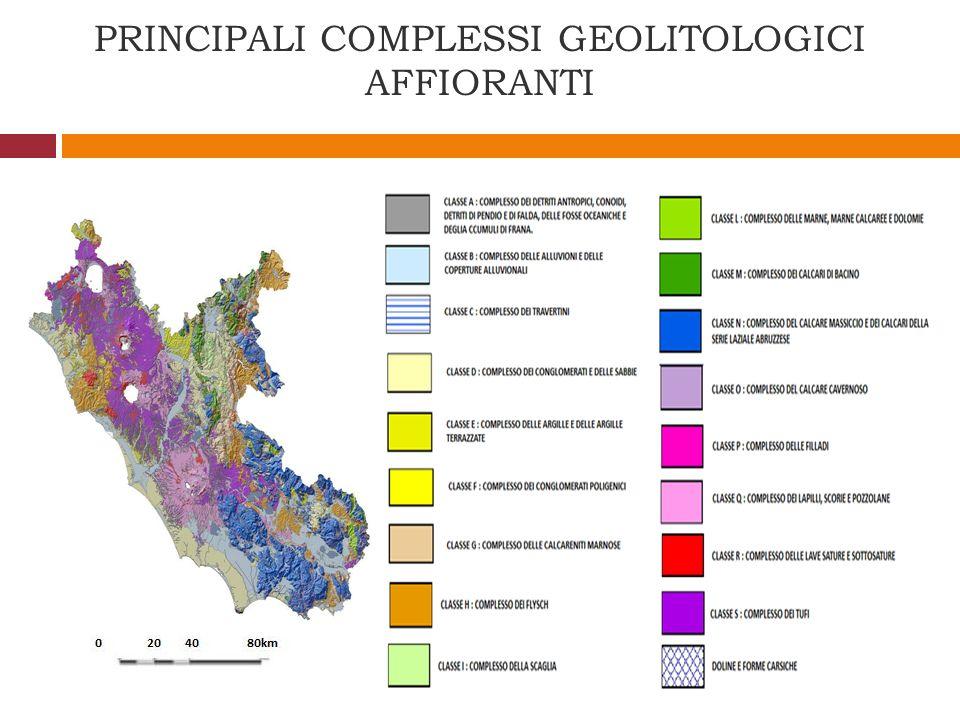 PRINCIPALI COMPLESSI GEOLITOLOGICI AFFIORANTI