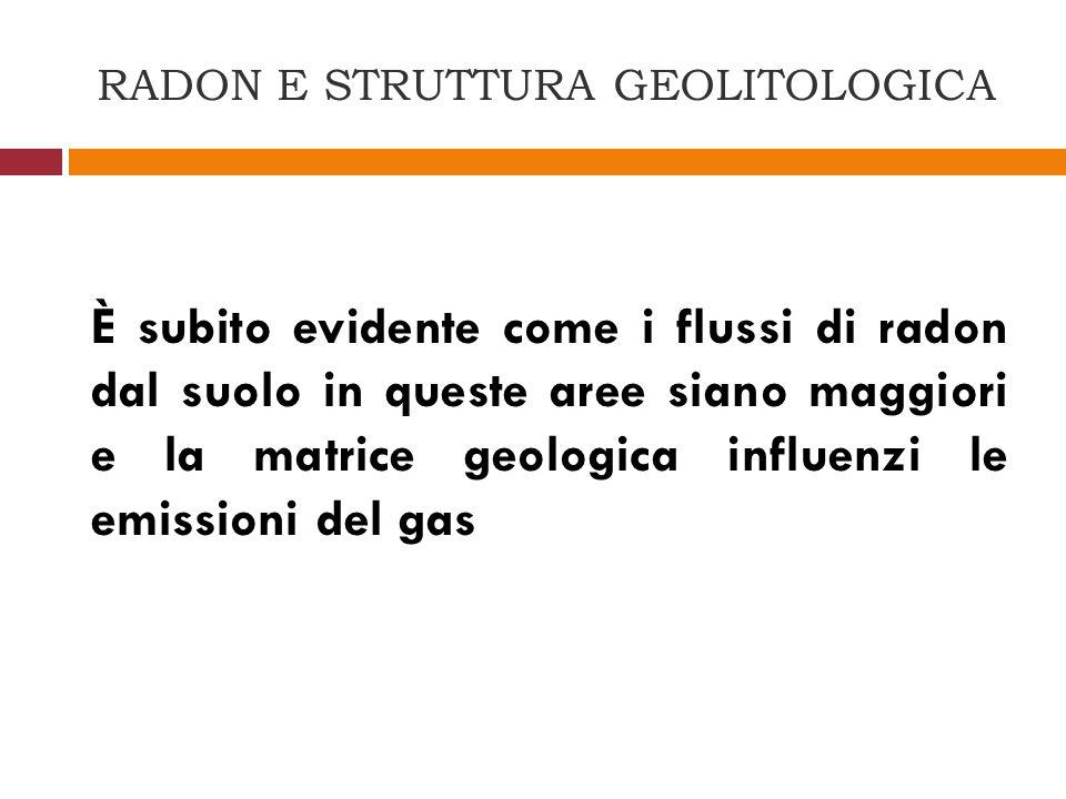 RADON E STRUTTURA GEOLITOLOGICA È subito evidente come i flussi di radon dal suolo in queste aree siano maggiori e la matrice geologica influenzi le e