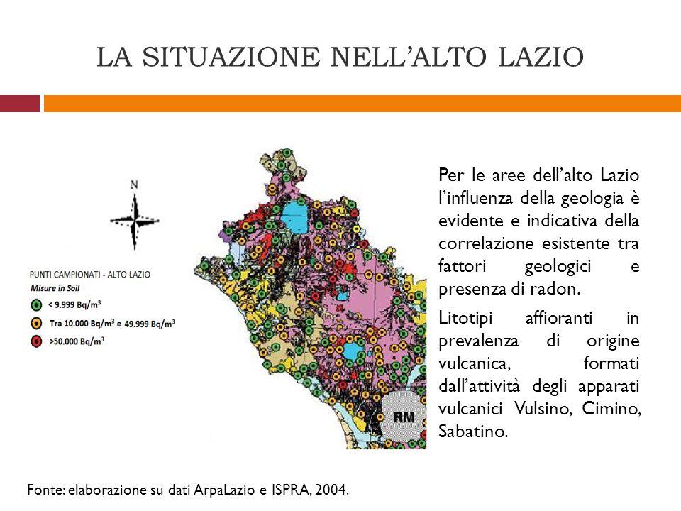LA SITUAZIONE NELLALTO LAZIO Fonte: elaborazione su dati ArpaLazio e ISPRA, 2004. Per le aree dellalto Lazio linfluenza della geologia è evidente e in