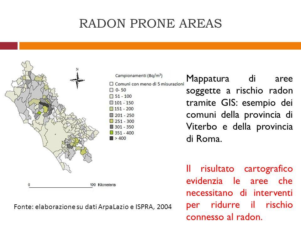 RADON PRONE AREAS Mappatura di aree soggette a rischio radon tramite GIS: esempio dei comuni della provincia di Viterbo e della provincia di Roma. Il
